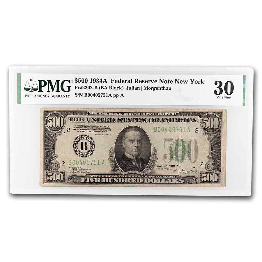 1934-A (B-New York) $500 FRN VF-30 PMG (Fr#2202-B)