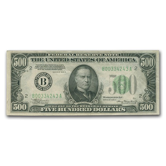 1934-A (B-New York) $500 FRN XF