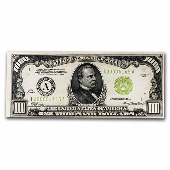 1934 (A-Boston) $1,000 FRN AU (Fr#2211-A) LGS