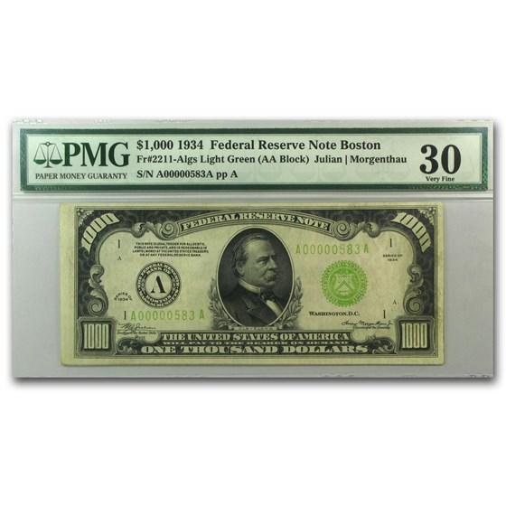 1934 (A-Boston) $1,000 FRN VF-30 PMG