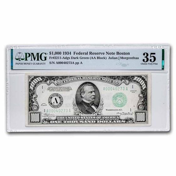 1934 (A-Boston) $1,000 FRN VF-35 PMG (Fr#2211-A)