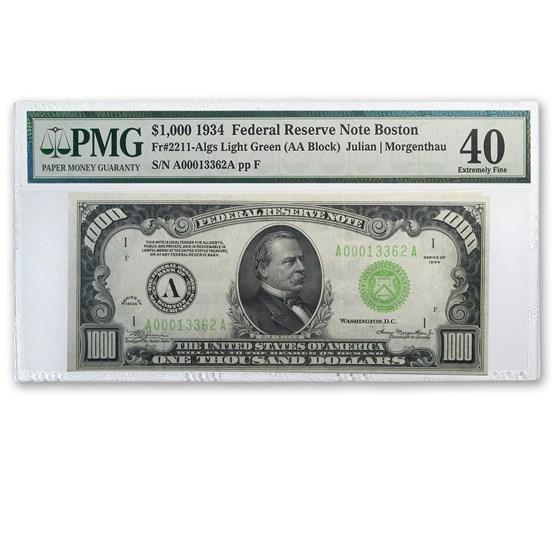 1934 (A-Boston) $1,000 FRN XF-40 PMG (Fr#2211-A) LGS