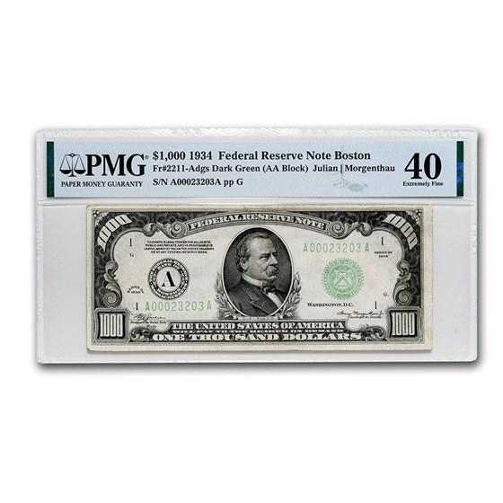 1934 (A-Boston) $1,000 FRN XF-40 PMG