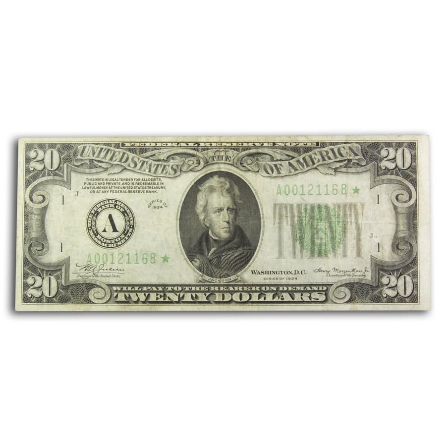 1934* (A-Boston) $20 FRN VF (Fr#2054-A*) Star Note