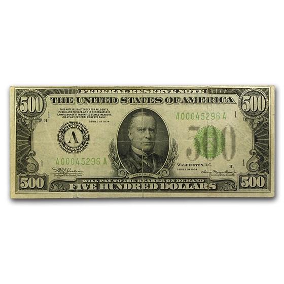 1934 (A-Boston) $500 FRN Fine Details