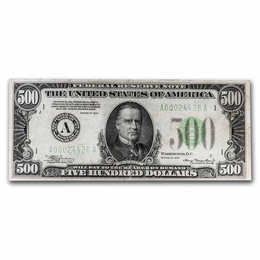 1934 (A-Boston) $500 FRN VF (Fr#2201-A) Details