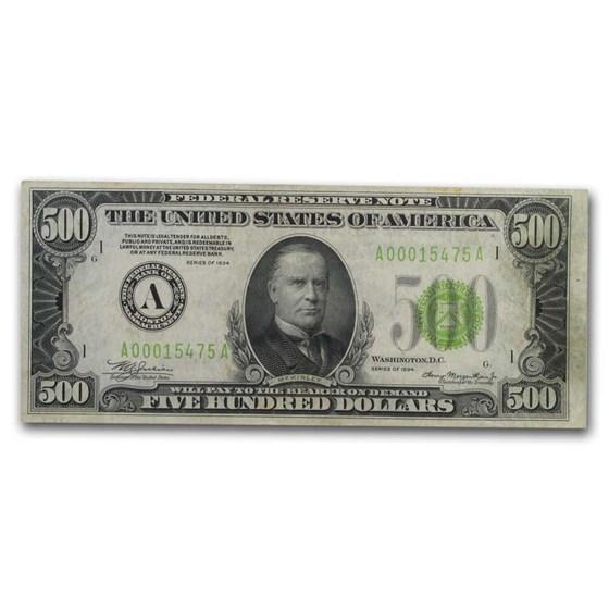 1934 (A-Boston) $500 FRN VF