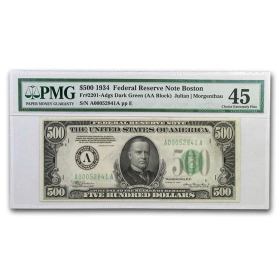1934 (A-Boston) $500 FRN XF-45 PMG