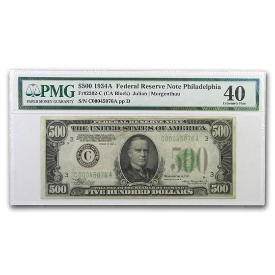 1934-A (C-Philadelphia) $500 FRN XF-40 PMG