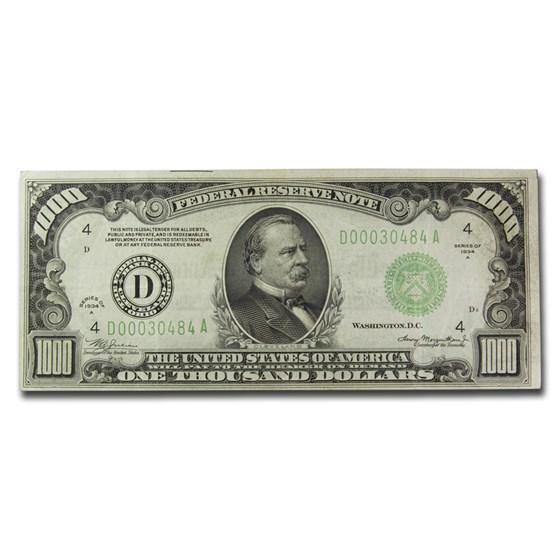 1934-A (D-Cleveland) $1,000 FRN XF