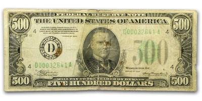 1934-A (D-Cleveland) $500 FRN VF Details (Torn)