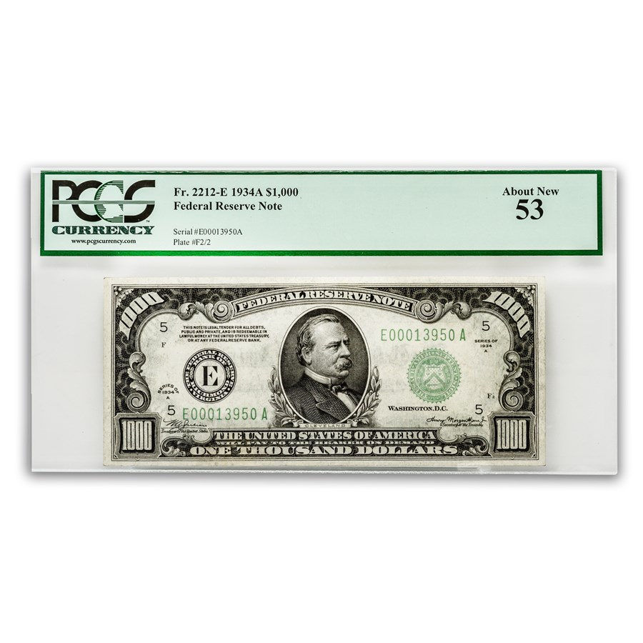 1934-A (E-Richmond) $1,000 FRN AU-53 PCGS