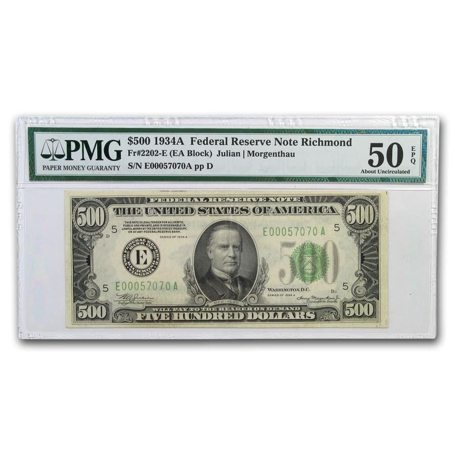 1934-A (E-Richmond) $500 FRN AU-50 EPQ PMG