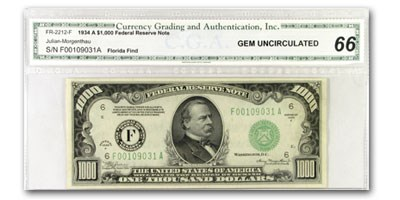 1934-A (F-Atlanta) $1,000 FRN CU-66 CGA