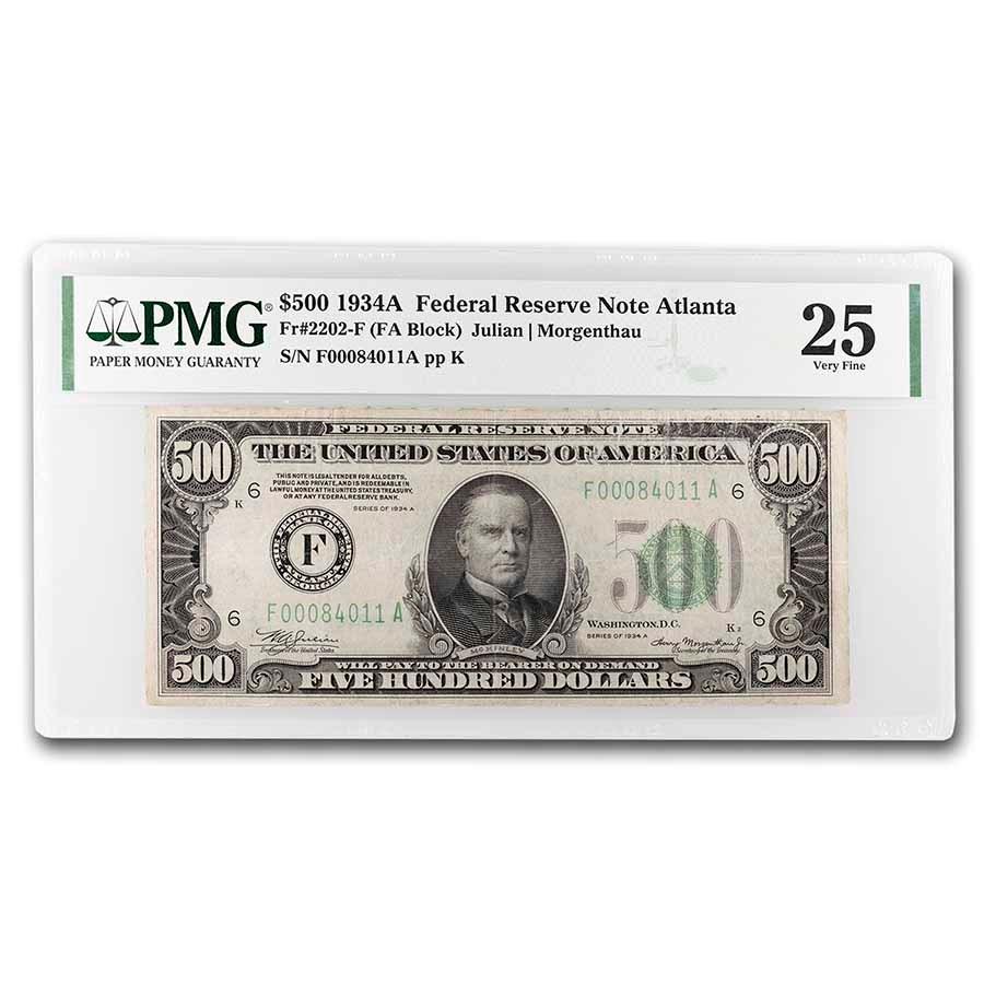 1934-A (F-Atlanta) $500 FRN VF-25 PMG (Fr#2202-F)
