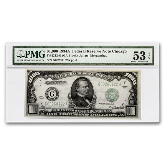 1934-A (G-Chicago) $1,000 FRN AU-53 EPQ PMG (Fr#2212-G)