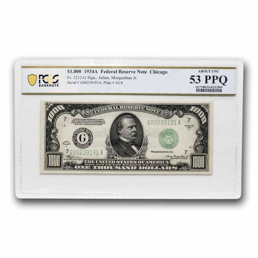 1934-A (G-Chicago) $1,000 FRN AU-53 PPQ PCGS (Fr#2212-G)