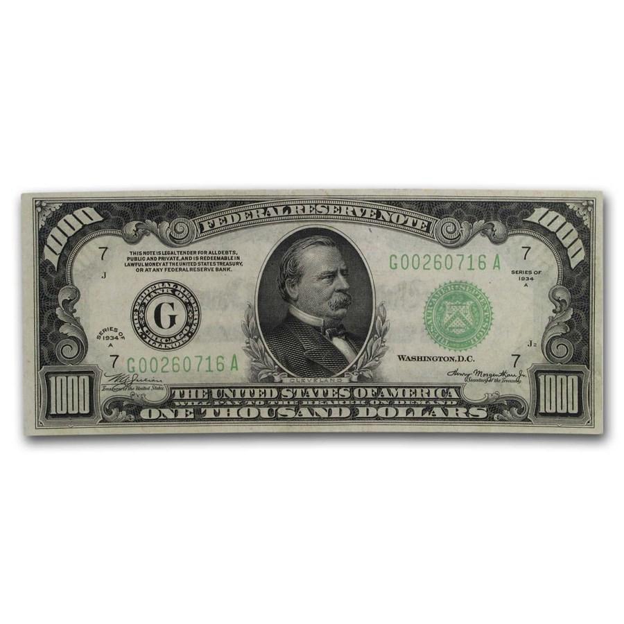 1934-A (G-Chicago) $1,000 FRN AU (Fr#2212-G)