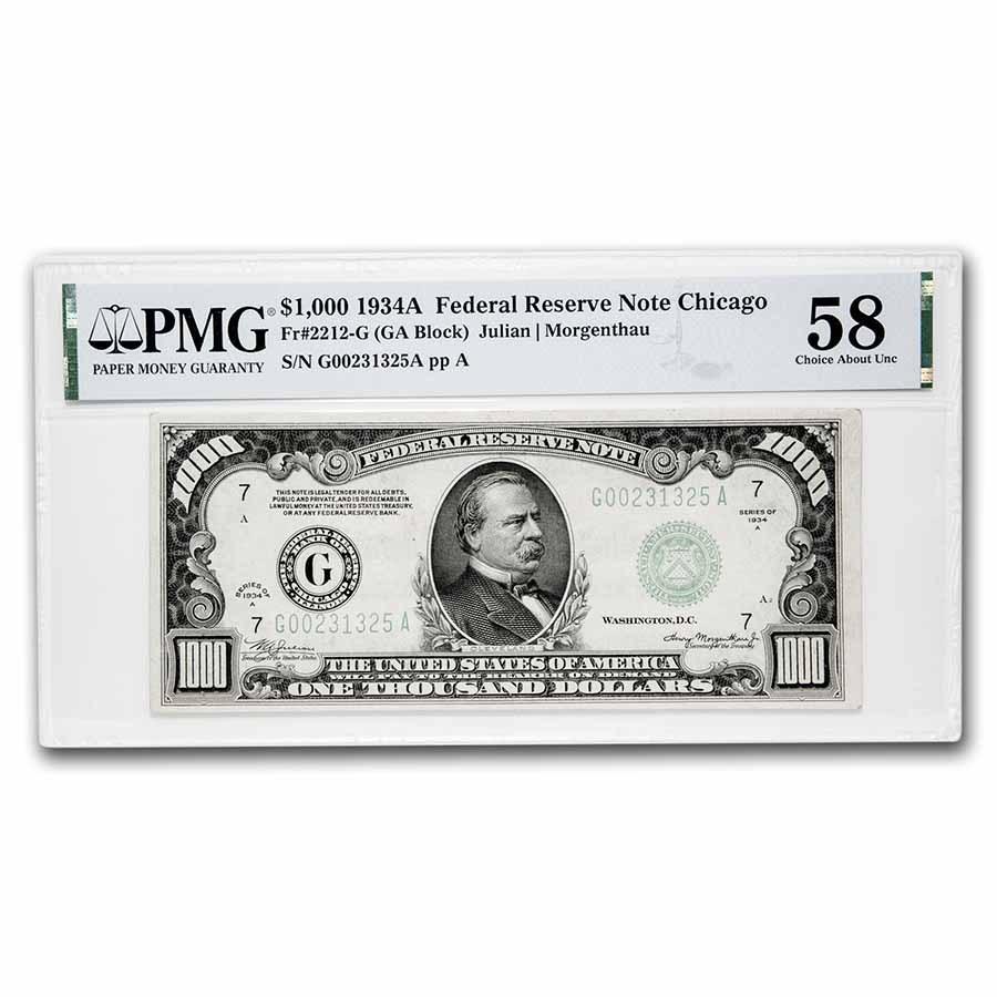 1934-A (G-Chicago) $1,000 FRN Choice AU-58 PMG (Fr#2212-G)