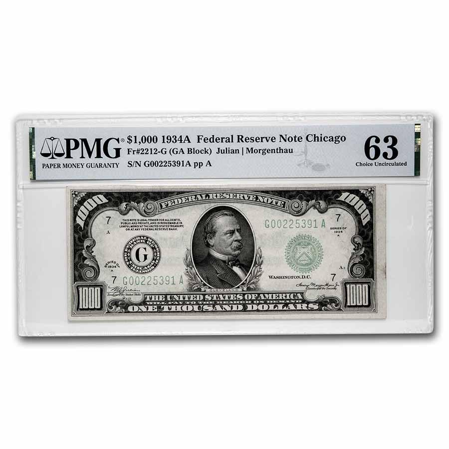 1934-A (G-Chicago) $1,000 FRN CU-63 PMG (Fr#2212-G)