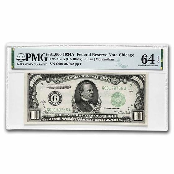 1934-A (G-Chicago) $1,000 FRN CU-64 EPQ PMG (Fr#2212-G)