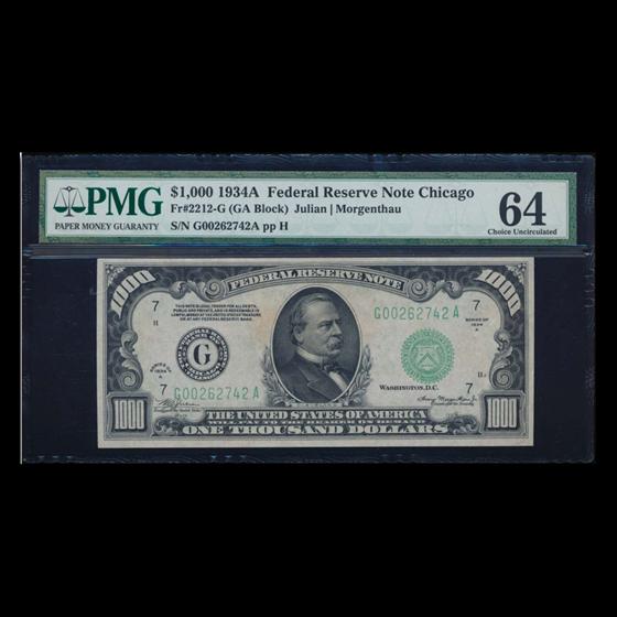 1934-A (G-Chicago) $1,000 FRN CU-64 PMG