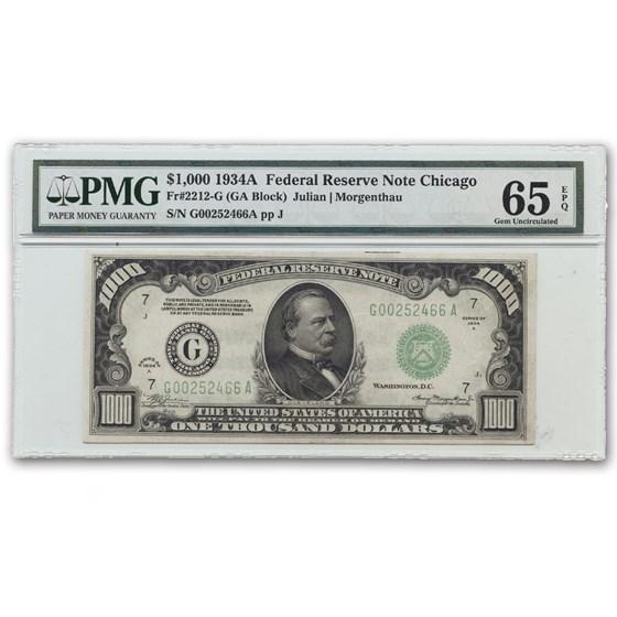1934-A (G-Chicago) $1,000 FRN CU-65 EPQ PMG