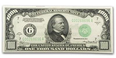 1934-A (G-Chicago) $1,000 FRN CU