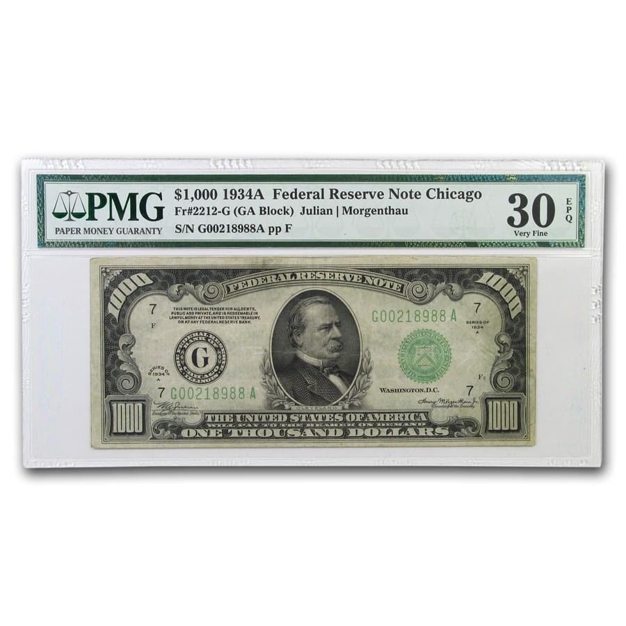 1934-A (G-Chicago) $1,000 FRN VF-30 EPQ PMG
