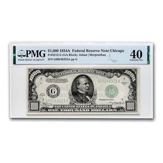 1934-A (G-Chicago) $1,000 FRN XF-40 PMG (Fr#2212-G)