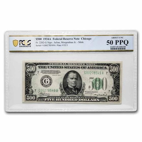 1934-A (G-Chicago) $500 FRN AU-50 PPQ PCGS (Fr#2202-G) Mule