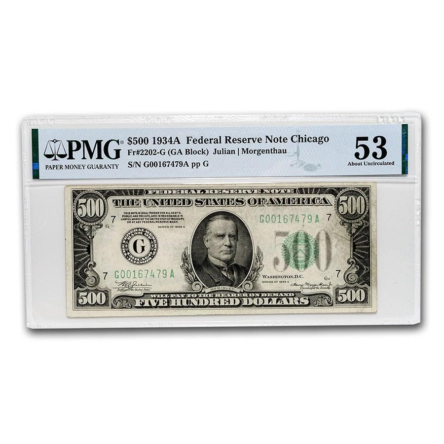 1934-A (G-Chicago) $500 FRN AU-53 PMG