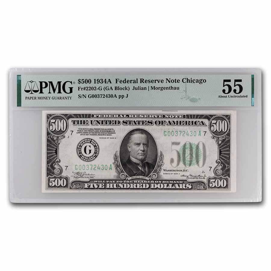 1934-A (G-Chicago) $500 FRN AU-55 PMG