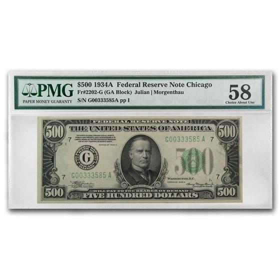 1934-A (G-Chicago) $500 FRN Ch AU-58 PMG