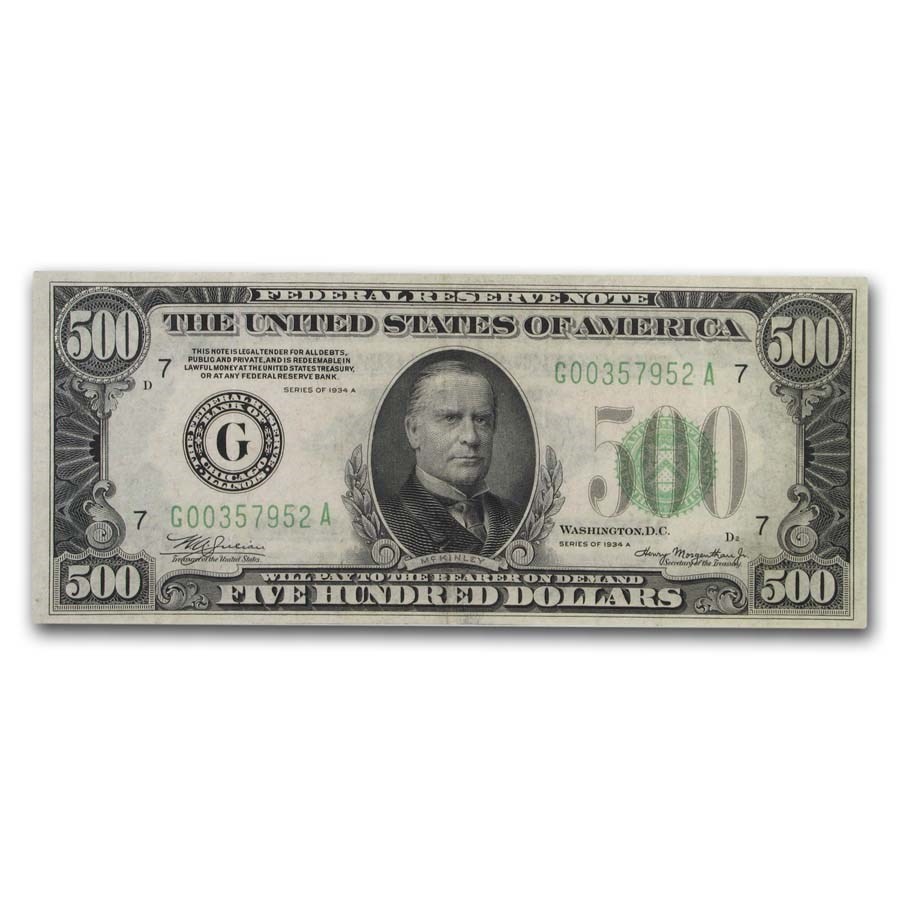 1934-A (G-Chicago) $500 FRN Ch AU (Fr#2202-G)