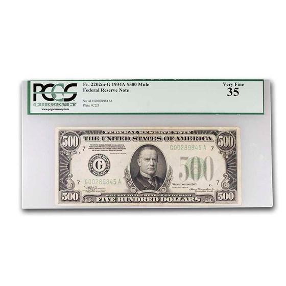 1934-A (G-Chicago) $500 FRN VF-35 PCGS (Fr#2202-G)