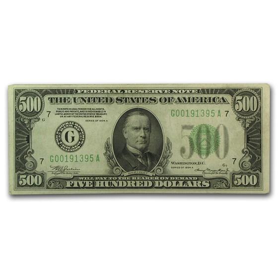 1934-A (G-Chicago) $500 FRN VF+