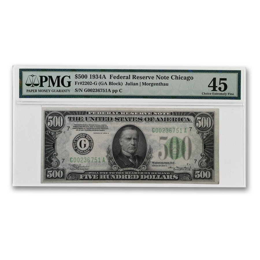 1934-A (G-Chicago) $500 FRN XF-45 PMG