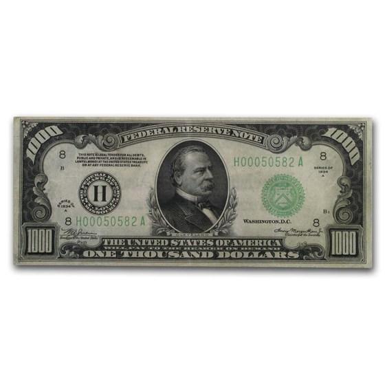 1934-A (H-St. Louis) $1,000 FRN VF (Fr#2212-H)