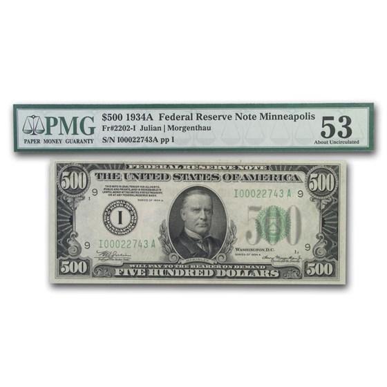 1934-A (I-Minneapolis) $500 FRN AU-53 PMG