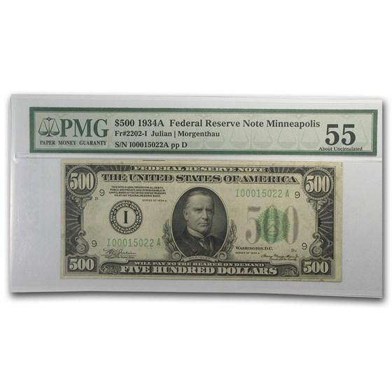 1934-A (I-Minneapolis) $500 FRN AU-55 PMG
