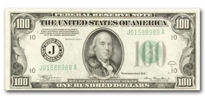 1934-A (J-Kansas City) $100 FRN AU (Fr#2153-J) Mule