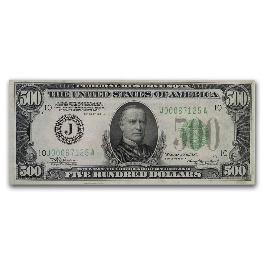 1934-A (J-Kansas City) $500 FRN AU (Fr#2202-J)