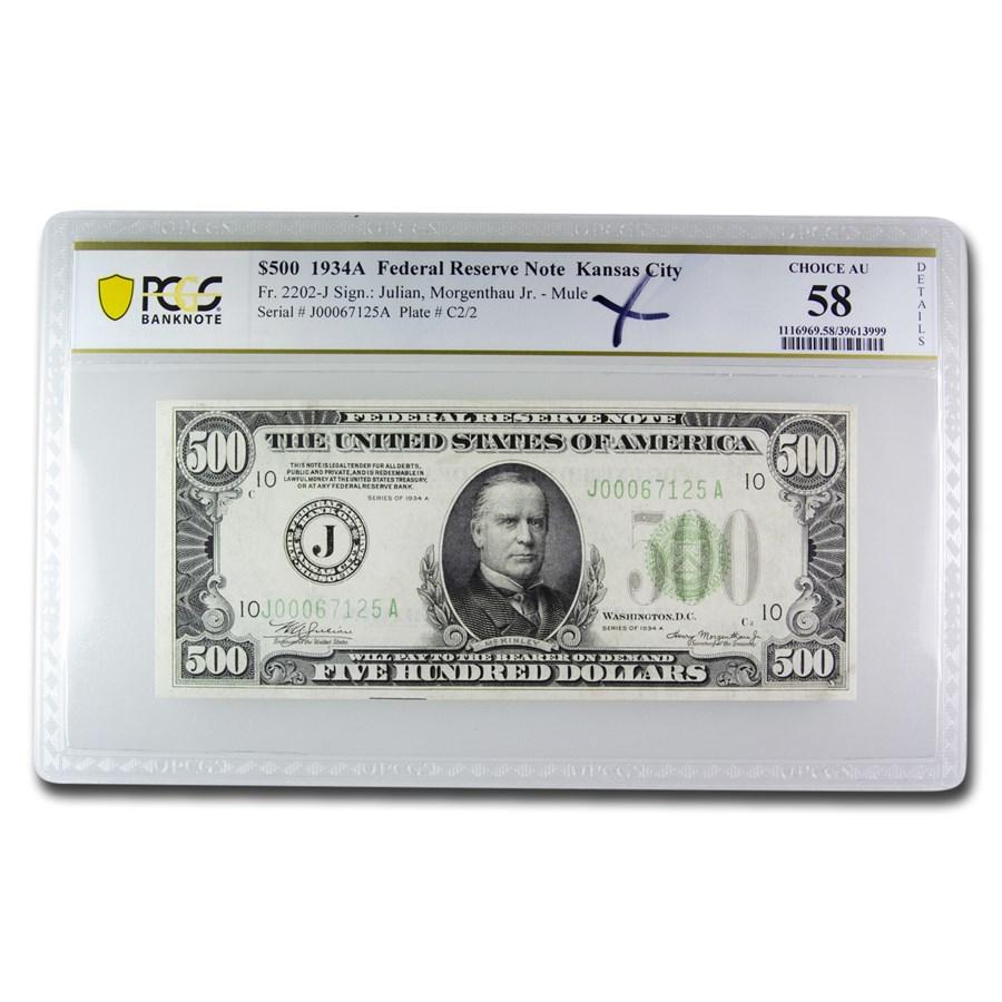 1934-A (J-Kansas City) $500 FRN CU (Mule, Details)