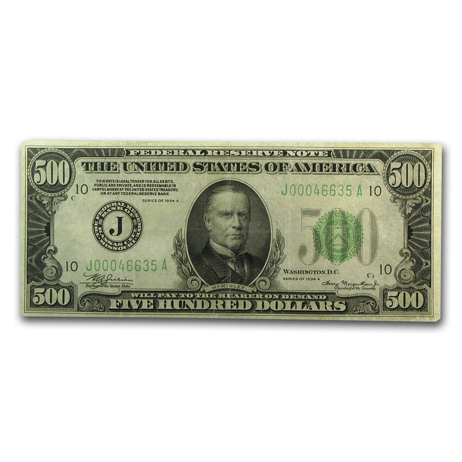 1934-A (J-Kansas City) $500 FRN VF+