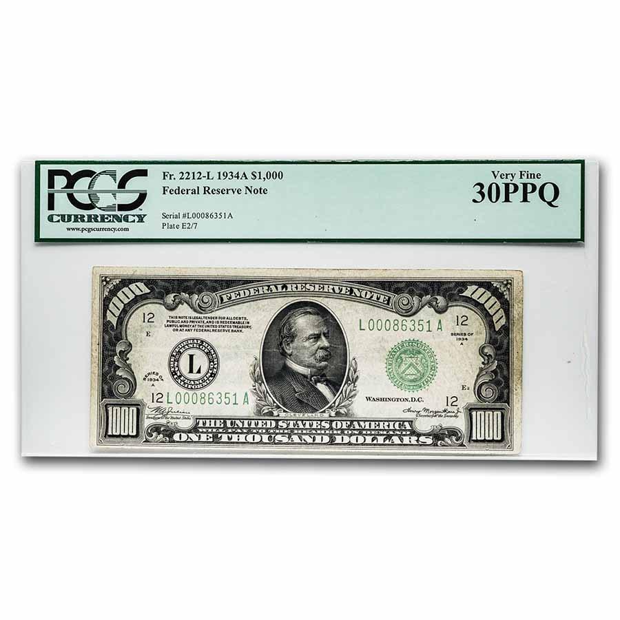 1934-A (L-San Francisco) $1,000 FRN VF-30 PPQ PCGS (Fr#2212-L)
