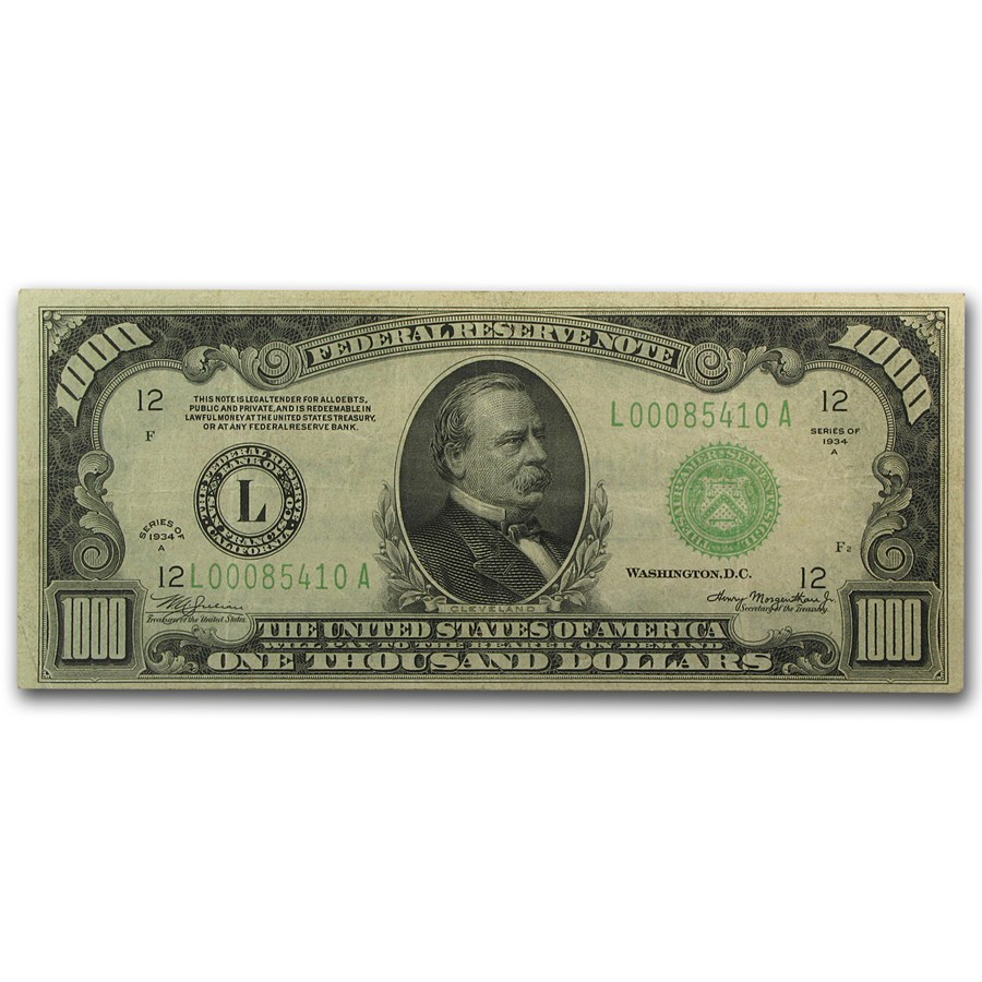 1934-A (L-San Francisco) $1,000 FRN VF+ (LGS)