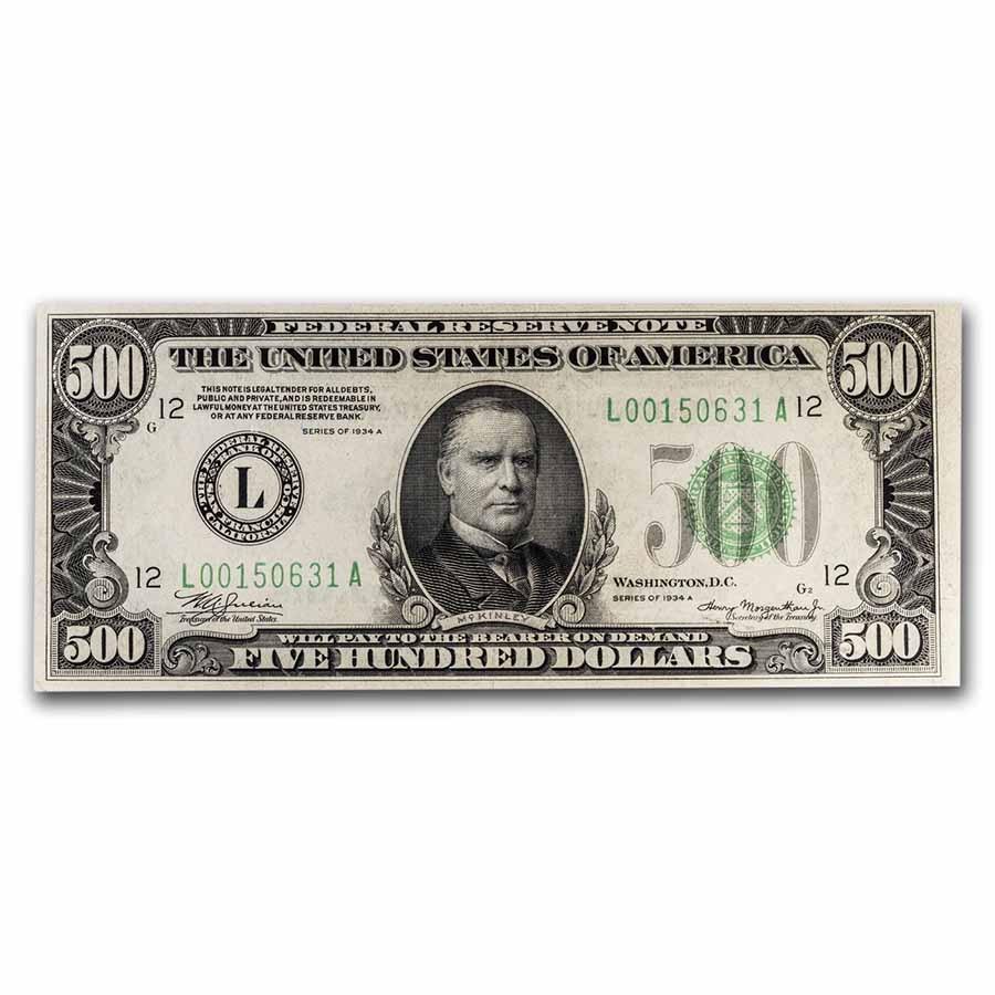 1934-A (L-San Francisco) $500 FRN AU (Fr#2202-L)