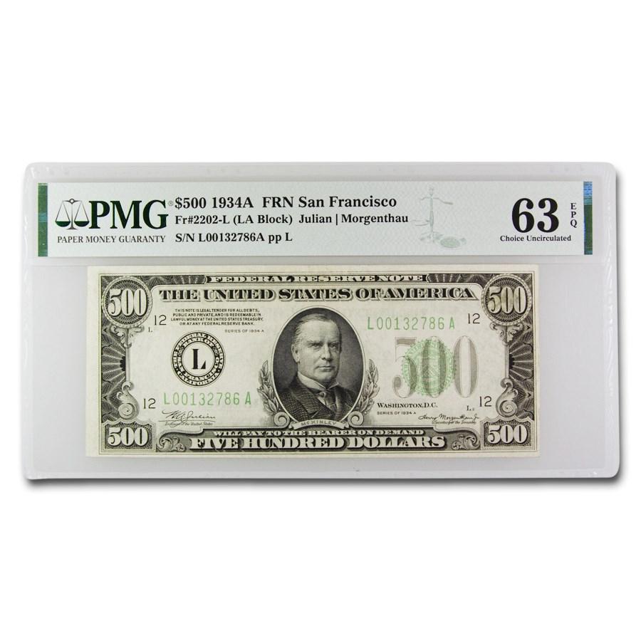 1934-A (L-San Francisco) $500 FRN CU-63 EPQ PMG