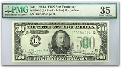 1934-A (L-San Francisco) $500 FRN VF-35 PMG